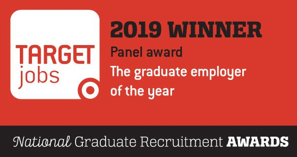 Target jobs 2019 Winner. The graduate employer of the year. Panel award logo